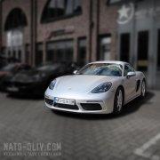 Porsche Cayman 3M Satin White Alu Nato Oliv Hamburg